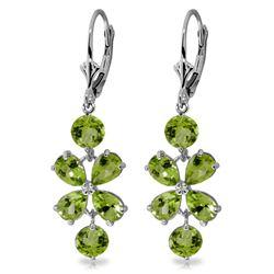 Genuine 5.32 ctw Peridot Earrings Jewelry 14KT White Gold - REF-50T3A