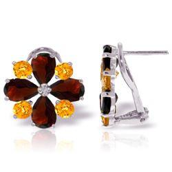 Genuine 4.85 ctw Garnet & Citrine Earrings Jewelry 14KT White Gold - REF-58Y4F
