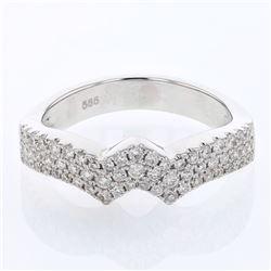 0.55 CTW Diamond Ring 14K White Gold - REF-64X4R