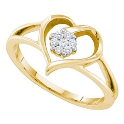 0.08 CTW Diamond Heart Flower Cluster Ring 10KT Yellow Gold - REF-19X4Y