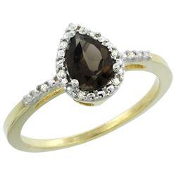 Natural 1.53 ctw smoky-topaz & Diamond Engagement Ring 14K Yellow Gold - REF-25F5N