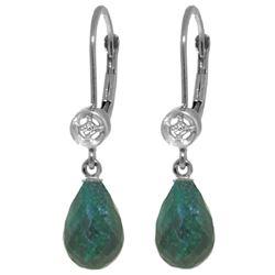 Genuine 6.63 ctw Green Sapphire Corundum & Diamond Earrings Jewelry 14KT White Gold - REF-29P7H
