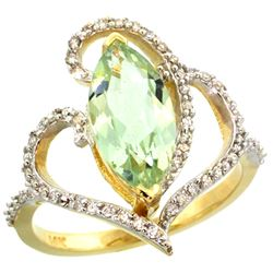 Natural 3.33 ctw Green-amethyst & Diamond Engagement Ring 14K Yellow Gold - REF-77H5W