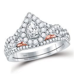 0.99 CTW Diamond Ring 14KT 2Tone Gold - REF-182X2Y