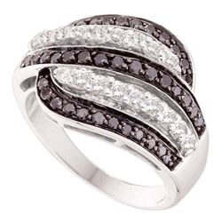 1 CTW Black Color Diamond Five Row Ring 14KT White Gold - REF-79K4W