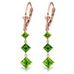 Genuine 4.79 ctw Peridot Earrings Jewelry 14KT Rose Gold - REF-36N8R
