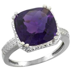 Natural 5.96 ctw Amethyst & Diamond Engagement Ring 14K White Gold - REF-42K3R