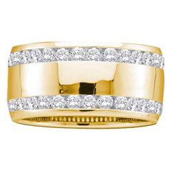 1 CTW Diamond Double Row Eternity Wedding Ring 14KT Yellow Gold - REF-119K9W