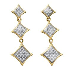 0.30 CTW Diamond Triple Square Kite Dangle Earrings 10KT Yellow Gold - REF-34N4F