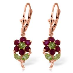 Genuine 2.12 ctw Peridot & Ruby Earrings Jewelry 14KT Rose Gold - REF-46A2K