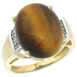 Natural 11.02 ctw Tiger-eye & Diamond Engagement Ring 10K Yellow Gold - REF-37G2M