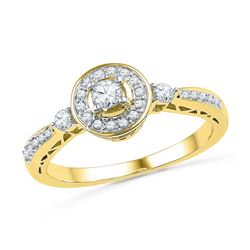 0.40 CTW Diamond Solitaire Halo Bridal Engagement Ring 10KT Yellow Gold - REF-34N4F