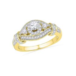 0.63 CTW Diamond Solitaire Bridal Engagement Ring 10KT Yellow Gold - REF-59Y9X