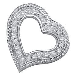 0.18 CTW Diamond Small Heart Love Pendant 10KT White Gold - REF-12K2W