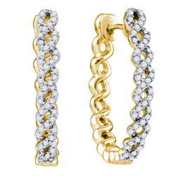 0.50 CTW Diamond Woven Hoop Earrings 10KT Yellow Gold - REF-59N9F