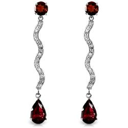 Genuine 4.35 ctw Garnet & Diamond Earrings Jewelry 14KT White Gold - REF-62T3A
