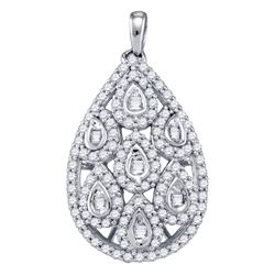 0.94 CTW Diamond Teardrop Pendant 10KT White Gold - REF-67Y4X