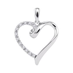 0.05 CTW Diamond Heart Love Pendant 10KT White Gold - REF-7F4N