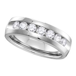 1 CTW Mens Channel-set Diamond Wedding Ring 14KT White Gold - REF-179M9H