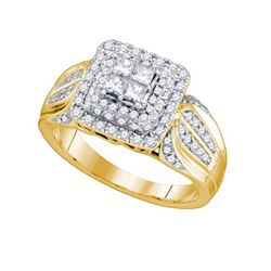 0.75 CTW Princess Diamond Cluster Bridal Engagement Ring 14KT Yellow Gold - REF-104H9M