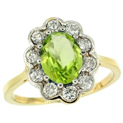 Natural 2.73 ctw Peridot & Diamond Engagement Ring 14K Yellow Gold - REF-82R2Z