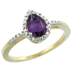 Natural 1.53 ctw amethyst & Diamond Engagement Ring 10K Yellow Gold - REF-18Z9Y