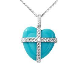 11.85 CTW Turquoise & Diamond Necklace 14K White Gold - REF-27X2R