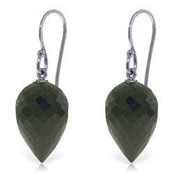 Genuine 24.5 ctw Black Spinel Earrings Jewelry 14KT White Gold - REF-26K2V