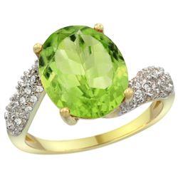 Natural 5.08 ctw peridot & Diamond Engagement Ring 14K Yellow Gold - REF-60F3N