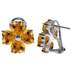 Genuine 6.5 ctw Citrine Earrings Jewelry 14KT White Gold - REF-79N7R
