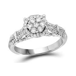0.69 CTW Diamond Flower Cluster Bridal Engagement Ring 10KT White Gold - REF-72X7Y