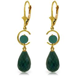 Genuine 18.6 ctw Green Sapphire Corundum & Emerald Earrings Jewelry 14KT Yellow Gold - REF-49H2X