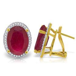 Genuine 15.86 ctw Ruby & Diamond Earrings Jewelry 14KT Yellow Gold - REF-210Z2N