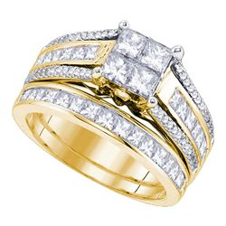 1.9 CTW Princess Diamond Cluster Bridal Engagement Ring 14KT Yellow Gold - REF-232H4M