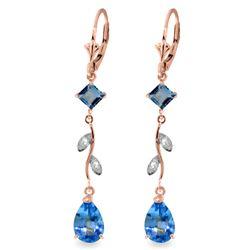 Genuine 3.97 ctw Blue Topaz & Diamond Earrings Jewelry 14KT Rose Gold - REF-44N9R