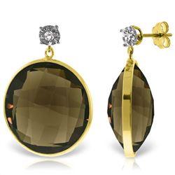 Genuine 34.06 ctw Smoky Quartz & Diamond Earrings Jewelry 14KT Yellow Gold - REF-55W5Y