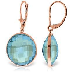 Genuine 46 ctw Blue Topaz Earrings Jewelry 14KT Rose Gold - REF-92R2P