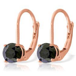 Genuine 1.0 ctw Black Diamond Earrings Jewelry 14KT Rose Gold - REF-57X6M