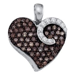 0.75 CTW Cognac-brown Diamond Unique Heart Cluster Pendant 10KT White Gold - REF-22N4F