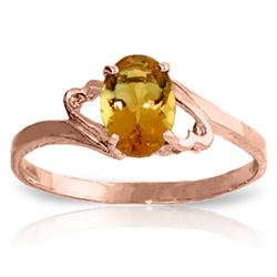 Genuine 0.90 ctw Citrine Ring Jewelry 14KT Rose Gold - REF-20N7R