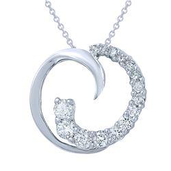0.63 CTW Diamond Necklace 14K White Gold - REF-54F5N