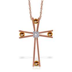 Genuine 0.43 ctw Citrine & Diamond Necklace Jewelry 14KT Rose Gold - REF-76V7W
