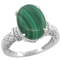 Natural 5.53 ctw Malachite & Diamond Engagement Ring 14K White Gold - REF-53M9H