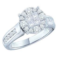 1.05 CTW Princess Diamond Soleil Cluster Bridal Engagement Ring 14KT White Gold - REF-119W9K