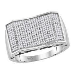 0.59 CTW Mens Pave-set Diamond Rectangle Convex Cluster Ring 10KT White Gold - REF-82M4H