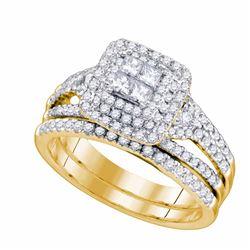 0.97 CTW Princess Diamond Bridal Engagement Ring 14KT Yellow Gold - REF-127M4H