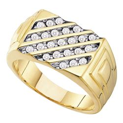 0.51 CTW Mens Channel-set Diamond Diagonal Ring 10KT Yellow Gold - REF-41N9F
