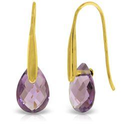 Genuine 6 ctw Amethyst Earrings Jewelry 14KT Yellow Gold - REF-38K5V