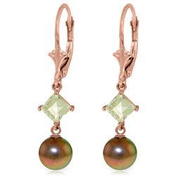 Genuine 5 ctw Pearl & Aquamarine Earrings Jewelry 14KT Rose Gold - REF-32F2Z