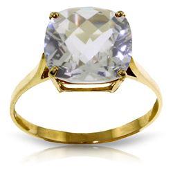Genuine 3.6 ctw White Topaz Ring Jewelry 14KT Yellow Gold - REF-34H7X